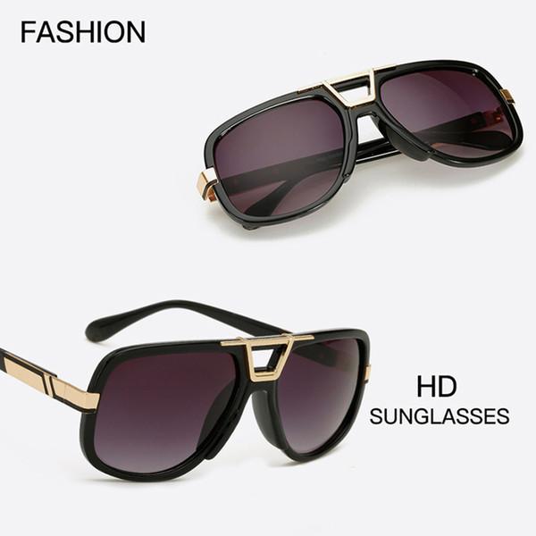 Yeni Kare Güneş Gözlüğü Erkekler Marka Tasarımcısı Boy Güneş Gözlükleri Temizle Metal Altın Siyah Çerçeve Çift Serin Shades Vintage Sunglass