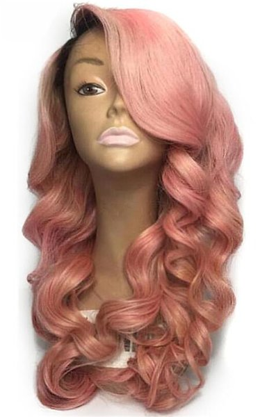Two Tone Ombre Full Lace Human Hair Wigs T1b 9pink Loose Wavy Peruvian Virgin Hair Wine pink 150% Density Lace Front Wigs