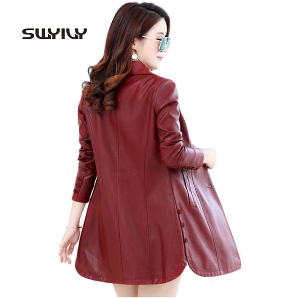 Büyük Boy 4XL Bayan Ince Uzun Deri Ceket Düğme Dekolte EleOutcoat Moda 2017 Yüksek Bel Uzun Kollu Kadın PU Ceket