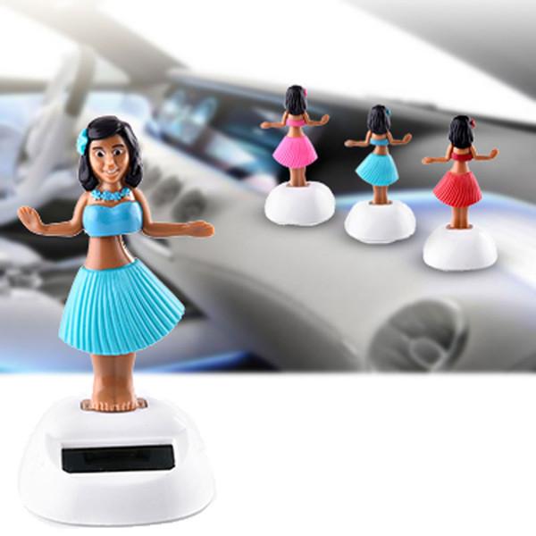 Énergie solaire Swinging Head Poupée Automobile Accessoires intérieurs Poupée Ornements Décoration de voiture style de voiture Blue Pink livraison gratuite