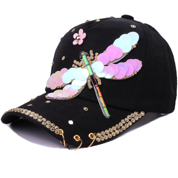 Butterfly Dragonfly Paillette Hoop Women Sunshade Sunscreen Baseball snapback Cap Leisure Time Outdoors Tourism Hat Cheap wholesale