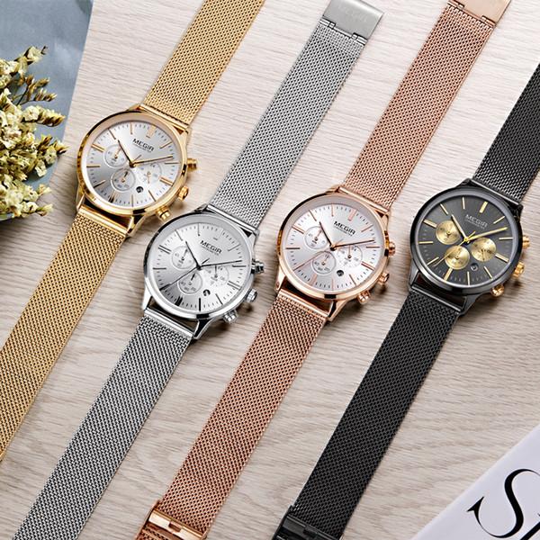 MEGIR Chronograph Luxury Women Bracelet Watches Relogio Feminino Fashion Quartz Lovers Wrist Watch Clock Ladies Girls Gift 2011 Y18110310