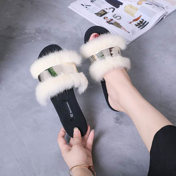 ERRFC New Arrival Luxury Women Casual Slippers Designer Sexy Ladies Slides Woman Flat Fur Slippers For Girls Sapato feminino