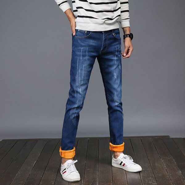 Mens Winter Blue Fleece Jeans Lined Stretch Denim Warm Jeans For Men Designer Slim Fit Brand Pants Jeans