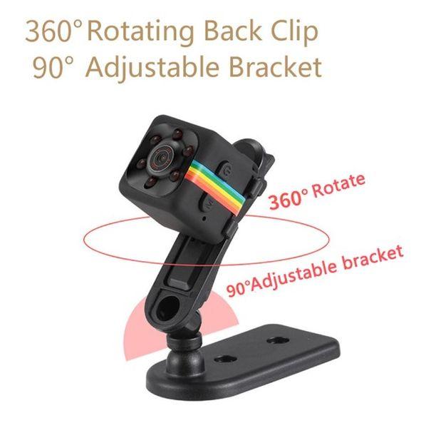 SQ11 1080P Full HD Mini Cámara Micro Cam Detección de movimiento Videocámara Infrarrojo Visión nocturna Grabadora de video 360 ° Girar Mini DV