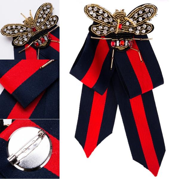 Beatfull Дизайнер Rhinestone Pre-Tied ленты лук галстук для мужчин / женщин Bee Брошь Pin Воротник украшения для женщин Поддержка FBA Drop Доставка H415R