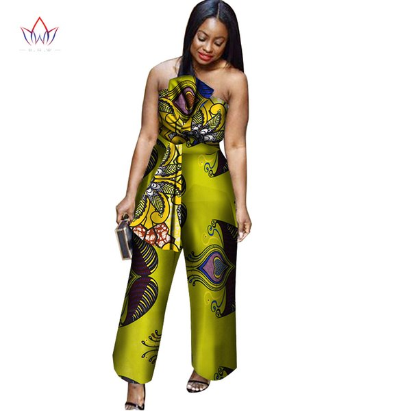 New arriving Africa Cotton Wax Print Romper African Bazin Riche Sexy Jumpsuit For Women Dashiki Elegant Jumpsuit WY1995