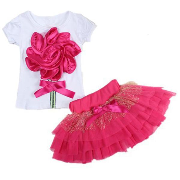 Summer New Big Rose Flower Short Sleeve Cotton T-shirts+short Skirts Kids Clothes Suit