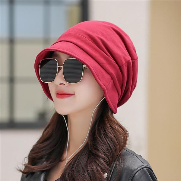 2018 Rouge Noir Rose Gris Marron Couleur Unie Bonnets Femmes Hommes Ski Slouch Stretch Head Cap Chapeau À Court Bord Baggy Beanie Caps