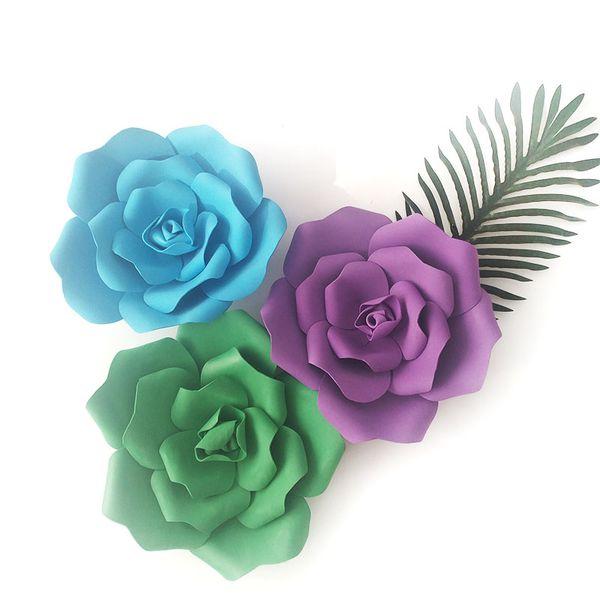 Artificial Rose Flor de Espuma Grande Boda Etapa Fondo Decoración de La Pared Flor de Papel Decoración Del Hogar Diámetro del Partido 15 25 32 cm