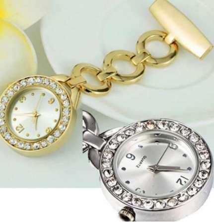 Luxury Rhinestone Round Dial Nurse Watch Brooch Pin Quartz Fob Pocket Watch