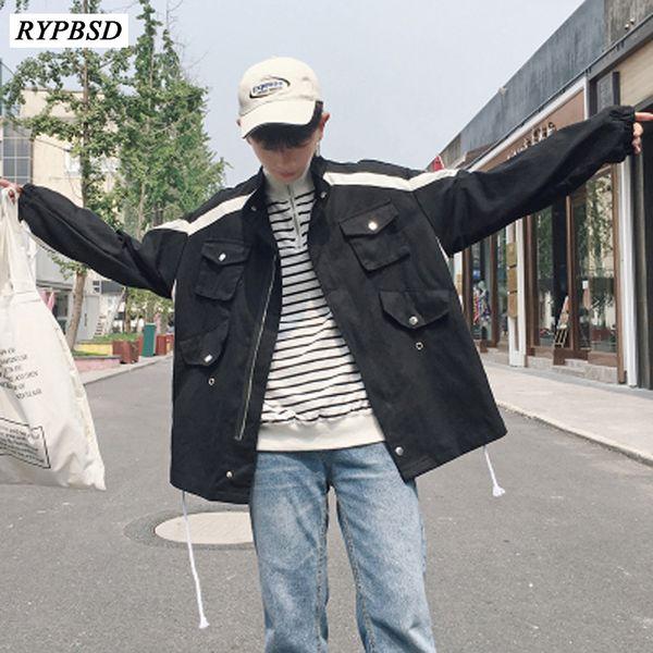 2019 New Fashion Autumn Long Sleeve Denim Jacket Men Hip Hop Casual Zipper Baseball Korean Men Jacket Black White 2 Colors