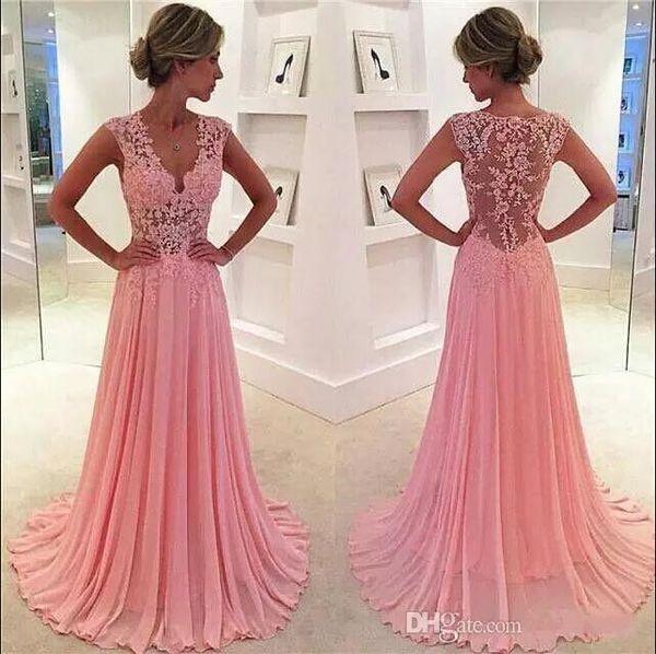 2018 Vintage Blush Pink Prom Kleider A-Linie Spitze Appliques V-Ausschnitt Sexy Sheer Cap Sleeves Mädchen formale Partei-Kleider nach Maß Abendkleid