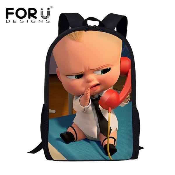 Forudesigns Cute Boss Baby 3d Cartoon School Bags Teenage Girls Boys Casual Book Bag Rucksack Children Laptop Backpack Daypack Laptop Bags For Women