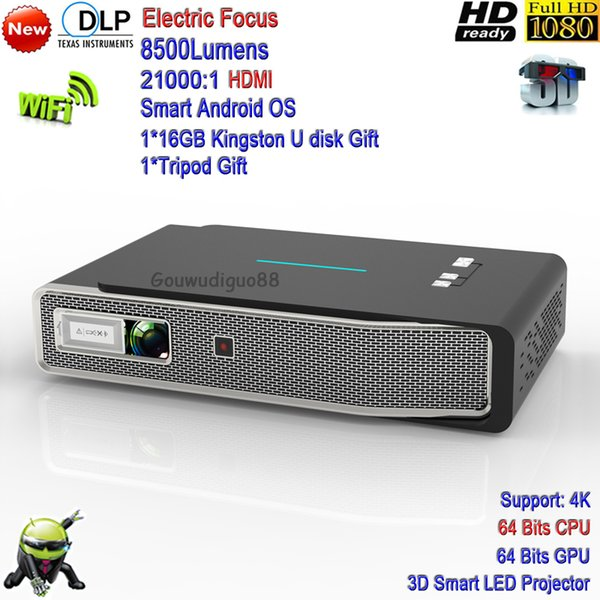 2018 New DLP WiFi High Brightness 8500Lumens Android LED Projector 3D Smart 4K Projector Full HD Home Theater Tv Cinema HDMI Electric Focus