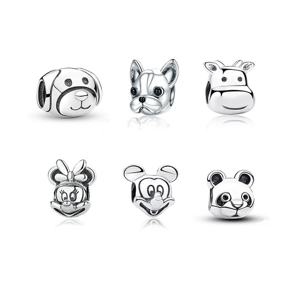 Authentic 925 Sterling Silver dog mouse bear cow Animal Charm Beads Fit Original Pandora Bracelet DIY Jewelry