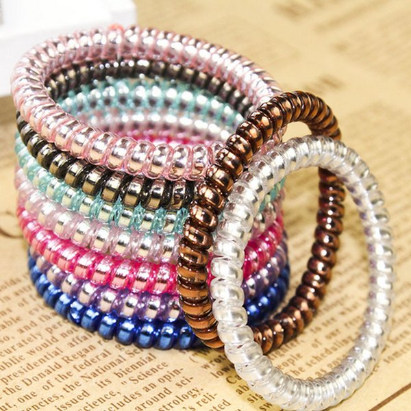 best selling Telephone Wire Coil Gum Elastic Band for Women Headbands Rubber Ropes Hair Ring Girls Hair Accessories Wholesale