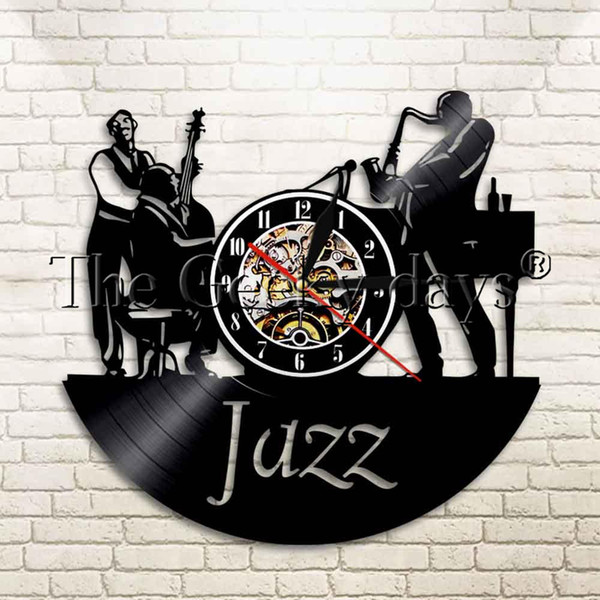 1 Stück Jazz Musik Instrument Schallplatte Wanduhr Musik Coole Wohnzimmer Interieur Dekorative Zeit Uhr Geschenk Für Jazz Fan