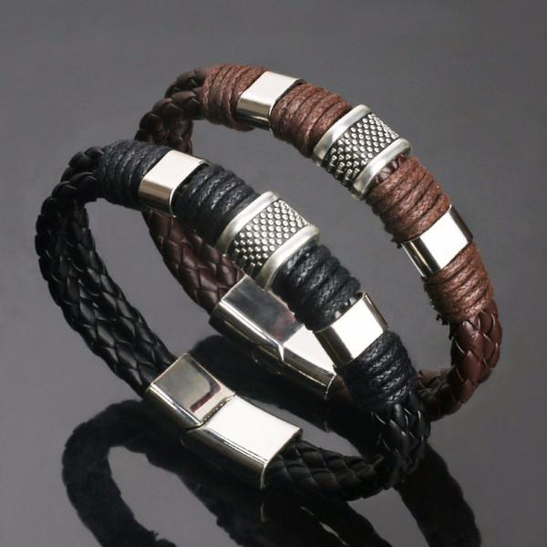 Elegante de los hombres de la vendimia trenzada pulsera de cadena de cuero brazalete coreano personalidad brazalete imán cierre Unisex Accesorio libre DHL G804F