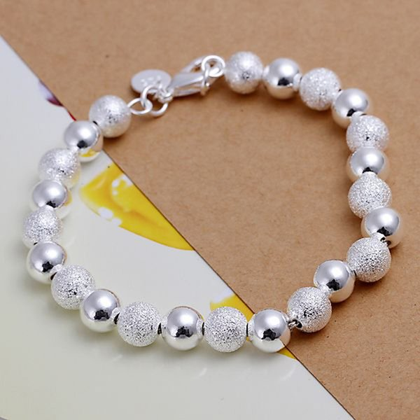 Fine 925 Sterling Silver Bracelet,XMAS New Style 925 Silver Chain Bead Bracelet For Women Men Fashion Jewelry Gift Link Italy Percing H84