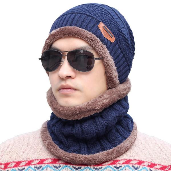 Mode Hohe Qualität 6 Farben Winter Dicker Wolle Gestrickte Ski Outdoor Männlichen Hut Warme Skullies Mützen Schal Cap Set