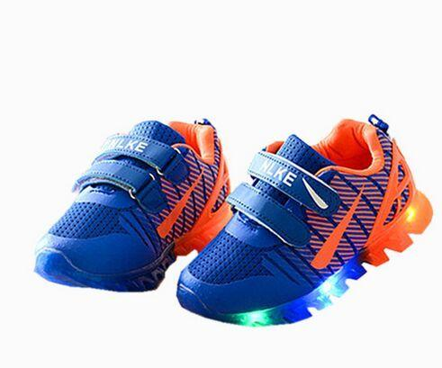 best selling Free shipping 2019 New Spring Net Breathable Boys Fashion Children Shoes With Chaussure Led Kids Shoes Chaussure Enfant