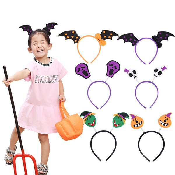 Women Bowknot Hair Bands Halloween Headdress Gifts Novelty Halloween Bats Pumpkin Headband for Girls