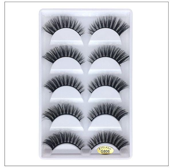 Reusable mink lashes hand-made thick natural long 5 pairs each set 2 styles available real mink hair false eyelashes DHL Free