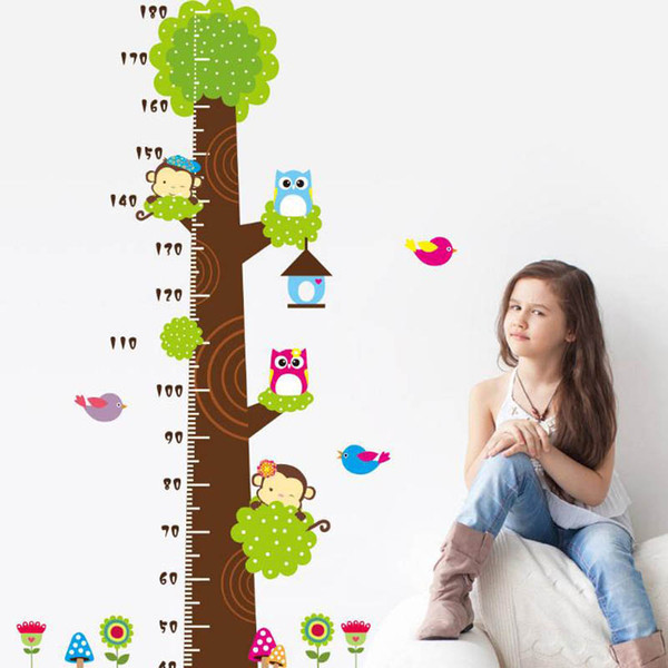 Cute Owl Monkey Tree Height Measure Wall Stickers Decal kids Adhesive Vinyl Wallpaper Baby Girl Boy Room Nursery Decor Cartoon Sticker