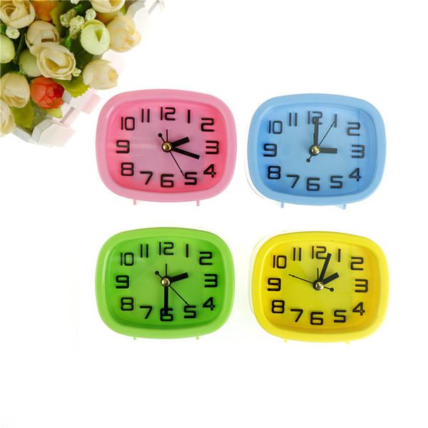 Random Send 1PCS Mini Mute Candy Colors Alarm Clocks Bedside Desk Table Kid Creat Gifts Square Portable Home Decor