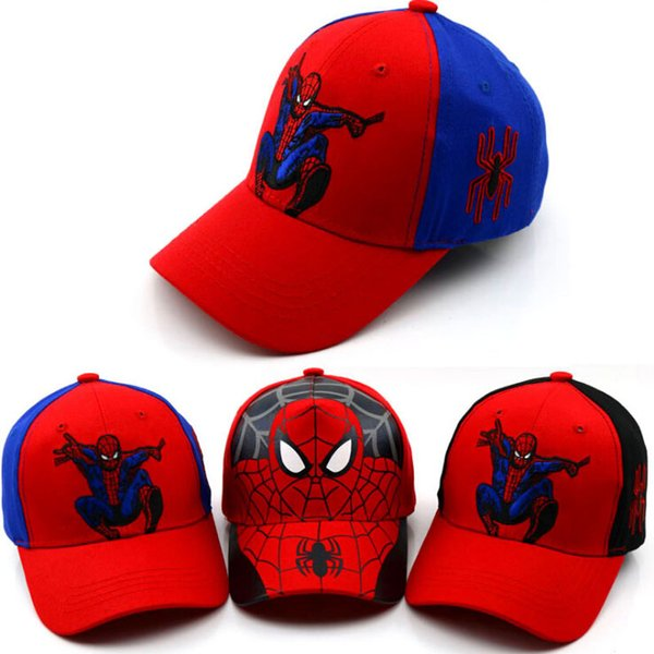 13ee3ef302c73 2018 Unisex Child Outdoors Sport Big Brim Baseball Cap Kids Spider-Man  Printed Adjustable Snapback Baseball Hat F440-F790