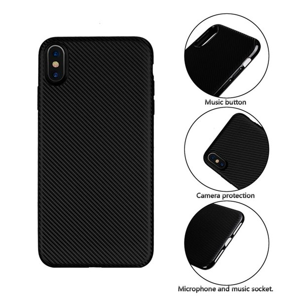 for iphone XS MAX XR Ultra-thin Fiber Carbon 0.7mm Soft Back Cover Case for iphone X XS 8Plus 7Plus 6Plus