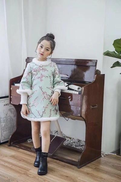 Autumn And Winter New Pattern Cotton Rabbit Skirt Cartoon Printing Girl Cheongsam Nation Hairs Collar Dress