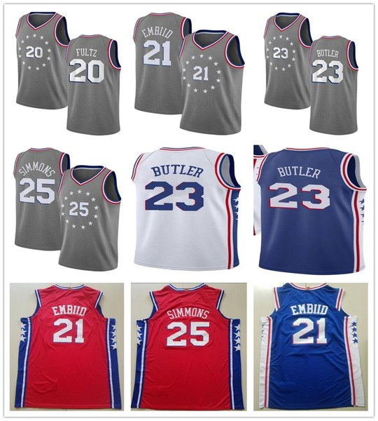 4d21ef01 2019 New City Edition Gray 21 Joel Embiid Jerseys Blue Red White 20 Markelle  Fultz 25