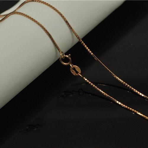 0.6 mm W Au750 18K Rose Gold Necklace Women & Men Box Chain Link 16-18