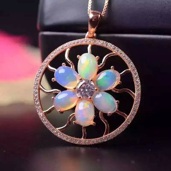 Fidelity natural 4*6mm opal pendants s925 sterling silver fashion fine jewelry for women party natural color gemstone