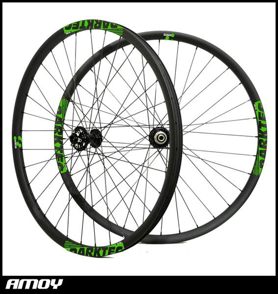 27mm wide Carbon Mountain Bike XC/Trail wheels Thru Axle Clincher Tubeless 29er Hookless MTB Wheelset