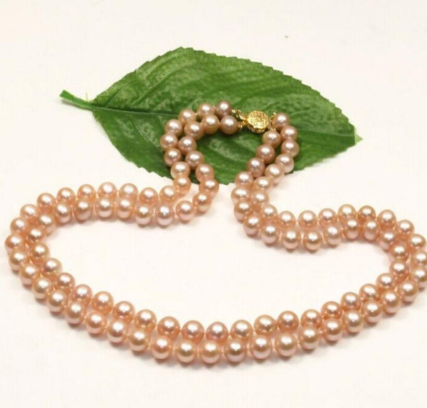 "very charming 8-9mm natural south sea pink pearl necklace 17-18"" 14KGP clasp"