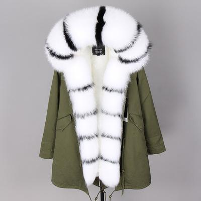 Bordo in pelliccia di volpe nera bianca Soglia marca MAOMAOKONG cappotti caldi cappotti caldi volpe bianca e pelliccia di volpe foderata di tela verde militare lungo parka
