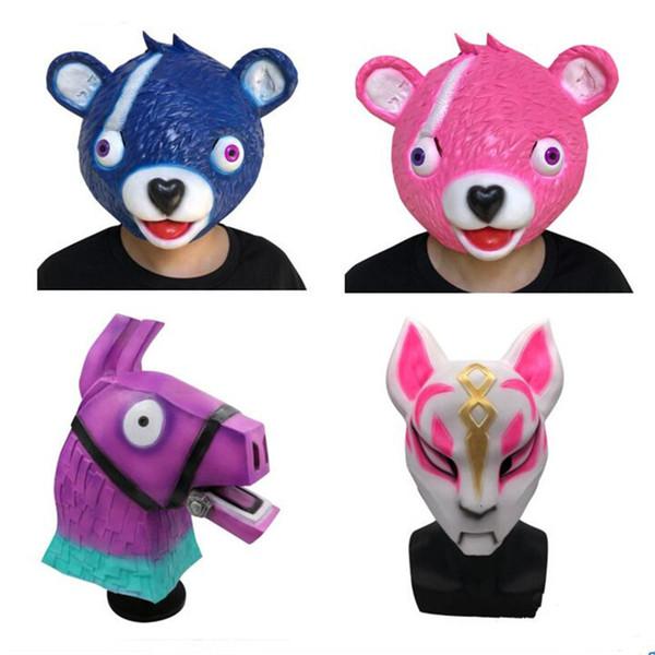 2019 Game Fortnite Drift Mask Kids Pink Blue Grey Bear Liama Halloween Costume Headgear Fortnight Adult Latex Full Head Headgears Cosplay Masks From
