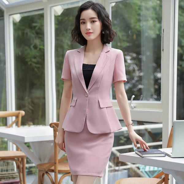 New Work Wear Formal Blazer Suit Jacket and Skirt Blazer With Skirt 2 Piece Set Office Lady Uniform Designs Suit S-4XL