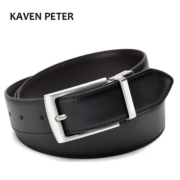 2017 Revolvable hebilla cinturones para hombres de negocios formales correa  de cuero genuino con doble lado 388df911de49