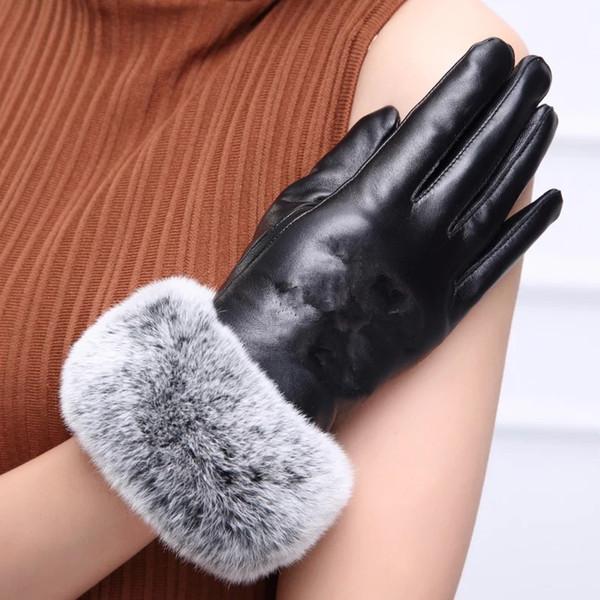CALIENTE con logo C guante de cuero real con pelo de conejo negro Guante tactil de buena calidad sin caja de regalo (Anita)