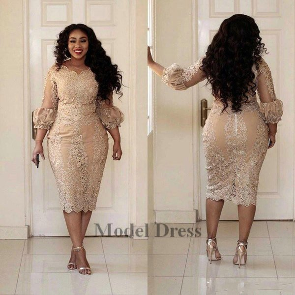 Sexy Plus Size Cocktail Dresses with 3/4 Long Sleeves Zipper Tea Length Prom Party Dress Fashion Champagne Pretty Arabic Formal Evening Wear