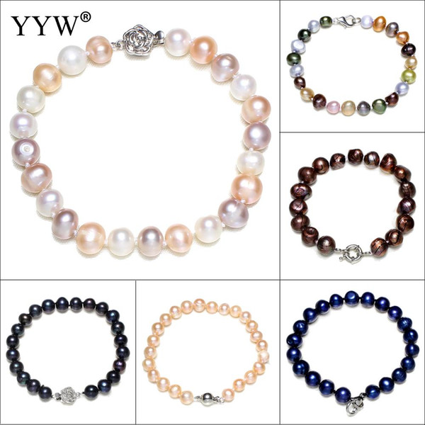 Freshwater Cultured Pearl Bracelet Round Beads Black Bangle Wedding Jewelry Accessories Gift Charm Bracelets For Man Women