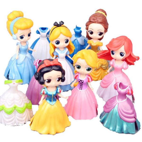 DHL 11CM Dolls with feeding bottle American PVC Kawaii Children Toys Anime Action Figures Realistic Reborn Dolls for kids toys girls