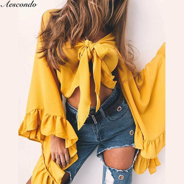 Aescondo New 2018 Summer Big Flare Sleeves Bow Tie Lolita Short Crop Chiffon Blouse Woman Front Bowknot Shirt Blusa Tops