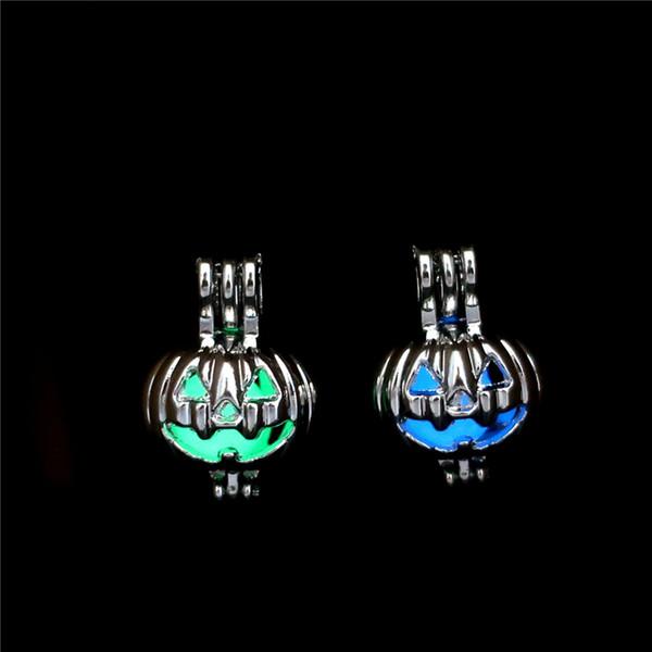 Bagliore d'argento nel buio Perle di zucca Ostriche Cage Locket Pendant Aromatherapy Profumi Diffusore di oli essenziali
