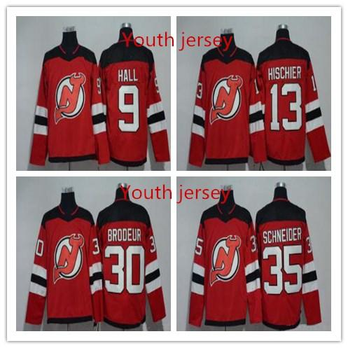 New Jersey Devils Youth women's Taylor Hall 30 Martin Brodeur 35 Cory Schneider 13 Nico Hischier Blank Fanatics ice Hockey stitched Jerseys