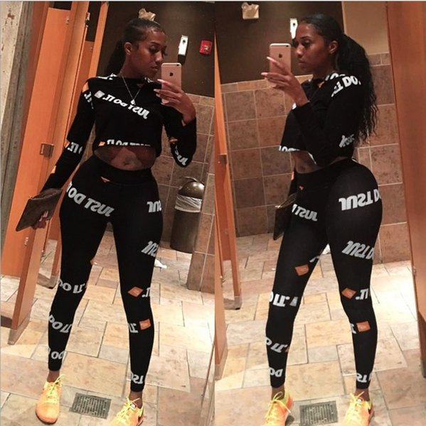Designer new AL004 cross-border Europe and America sexy women's long-sleeved sports suit letter fashion printing two-piece autumn
